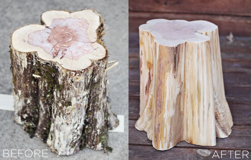 how to make a DIY tree stump for coffee table